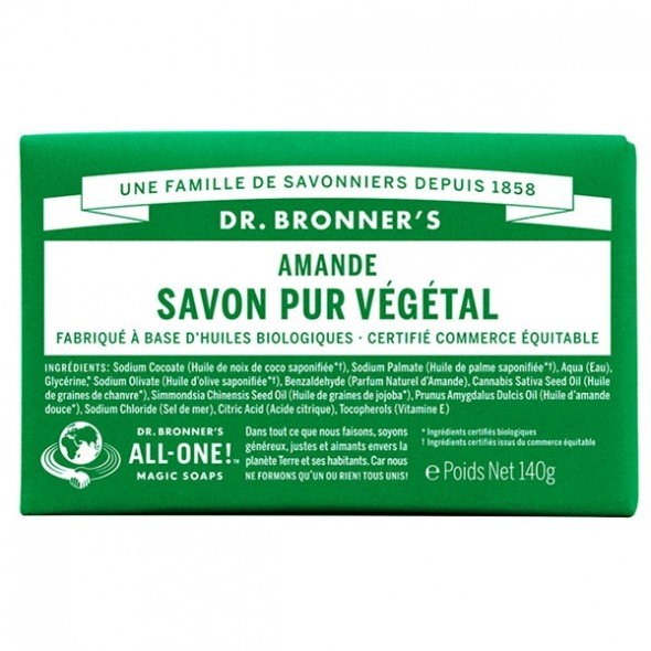 Savon Solide Pur Végétal Amande Dr Bronner