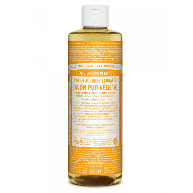 Savon Liquide Naturel Agrumes Orange 473ml - Dr Bronner