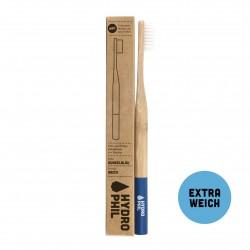 Brosse à dents en Bambou bleu foncé - Poils souples