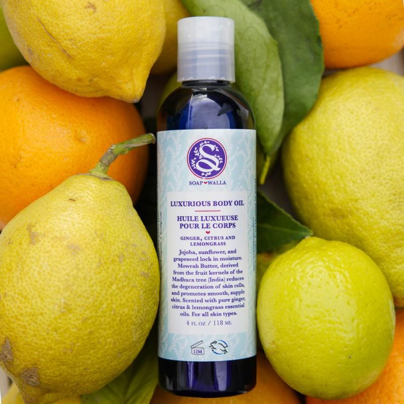 Huile pour le corps Soapwalla gingembre citron citronnelle