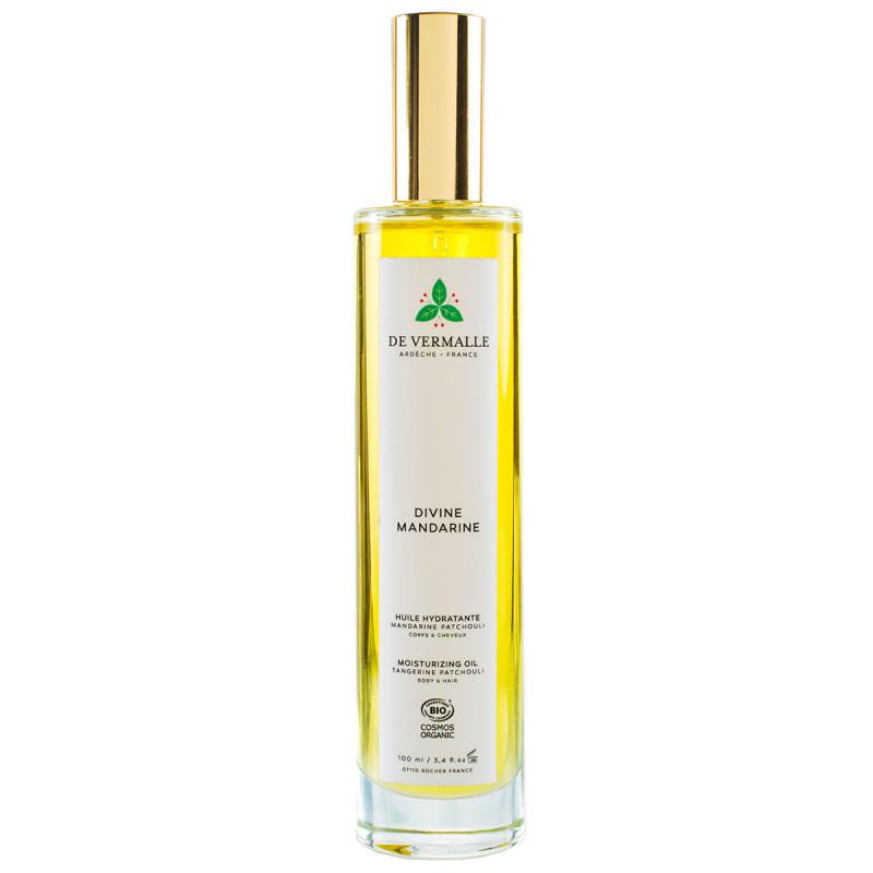 Huile fine hydratante parfumée corps cheveux aux huiles essentielles et végétales Divine Mandarine De Vermalle