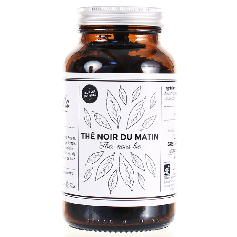 Thé noir du Matin bio - Bocal verre